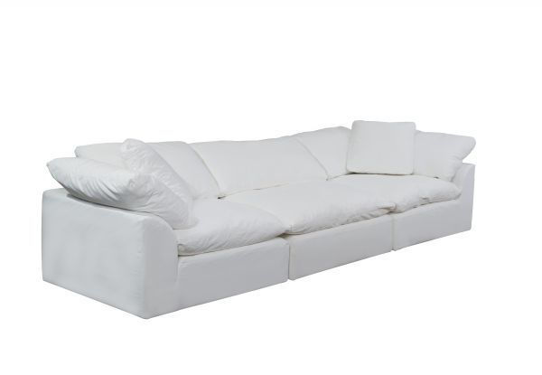 Picture of Sunset Trading Cloud Puff 3 Piece Modular Sofa Slipcover   Performance Fabric   White