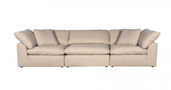 Picture of Sunset Trading Cloud Puff 3 Piece Modular Sofa Slipcover | Performance Fabric | Tan