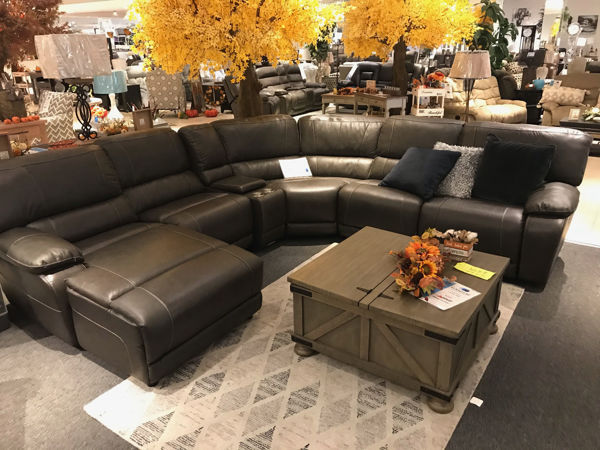 Picture of Gray Genuine Leather Sectional